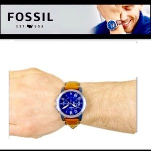 FOSSIL •Blue•50M•Watch•BrownLeather BandLE#AM3132